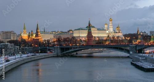 Fototapety, obrazy: Kremlin embankment. Bolshoy Kamenny Bridge. Morning blue hour winter shot