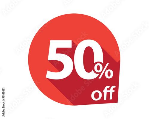 Valokuva  50 percent discount off red circle