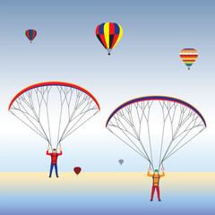 FototapetaParagliding and balloons in the sky.