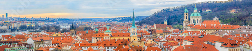 Poster Prague Panoramic view onto red roofs of Prague and river Vltava