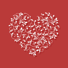 Lace Heart On Red Background. Valentine Card.