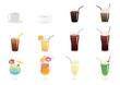 drinks/ 飲み物(コーヒー、紅茶、コーラ、オレンジジュース、トロピカルジュース、レモンスカッシュ、メロンソーダ)