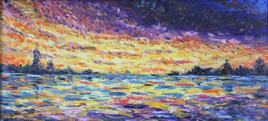 Fototapeta sunset over the lake, oil painting
