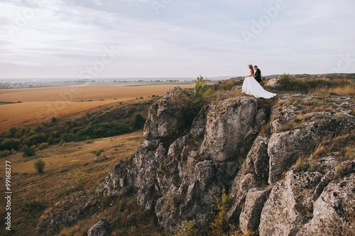 Photo  bride and groom on the mountain
