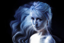 Ghostly Woman, Soul. Portrait Of A Movement Effect, Creative Body Art On Theme Space And Stars