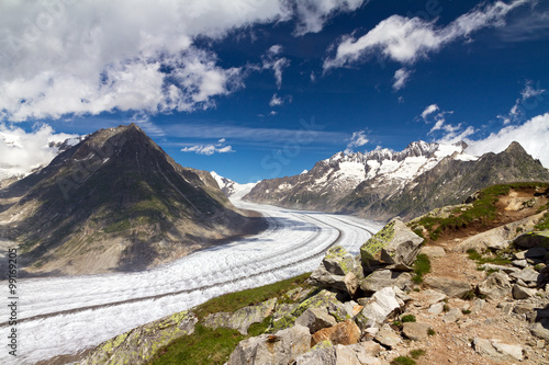 Canvastavla Beautiful panorama of the breathtaking Aletsch glacier as seen from the Bettmer