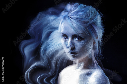 Ghostly Woman Soul Portrait Of A Movement Effect Creative Body Art On Theme Space And Stars Buy This Stock Photo And Explore Similar Images At Adobe Stock Adobe Stock