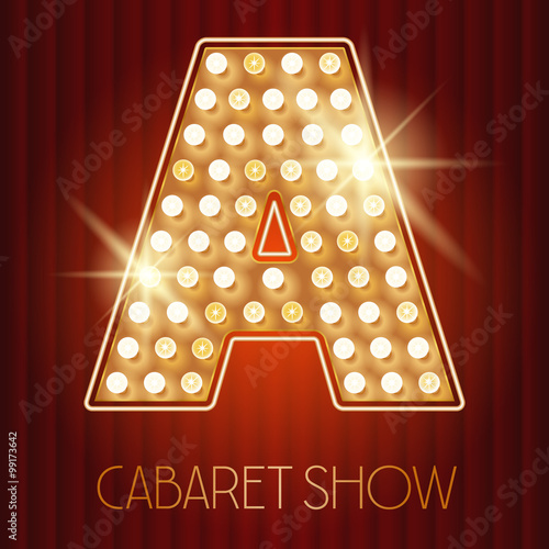 Fotografía  Vector shiny gold lamp alphabet in cabaret show style. Letter A
