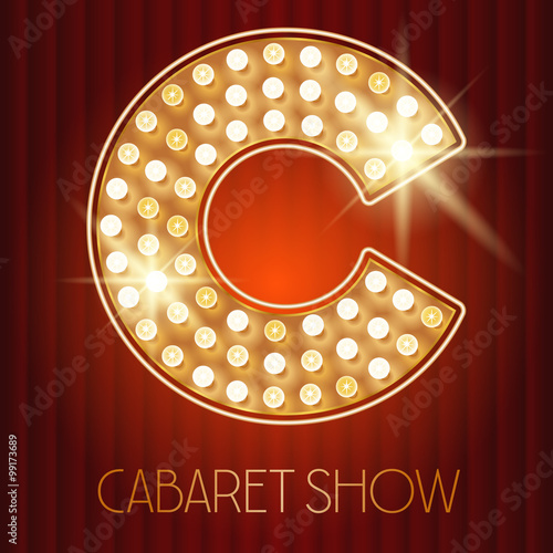 Stampa su Tela Vector shiny gold lamp alphabet in cabaret show style. Letter C