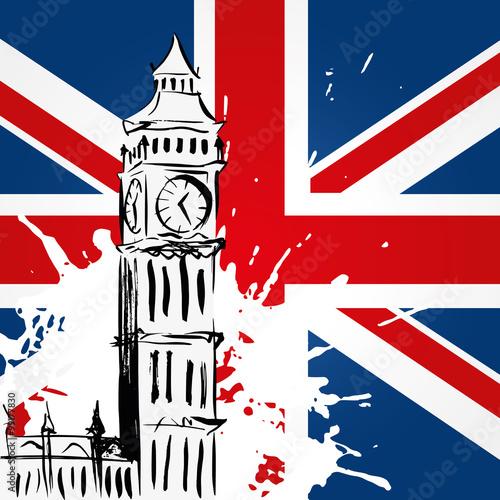 Fototapeta Big Ben devant l'Union Jack