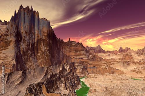 Foto op Plexiglas Crimson Alien Planet. Lake, rocks and moon