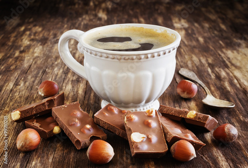 Fotografia cup of coffee and chocolate