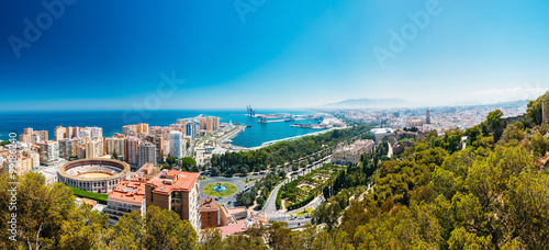 Panorama cityscape aerial view of Malaga, Spain.