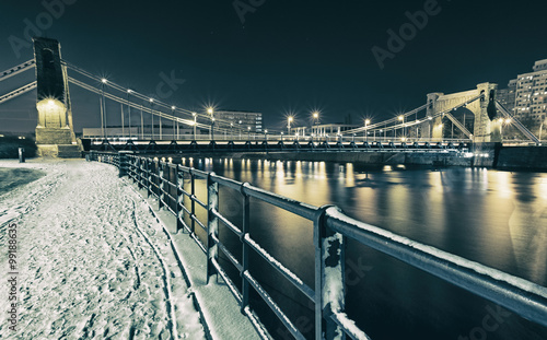 Obraz view on bridge at night in winter time in wroclaw, poland - fototapety do salonu