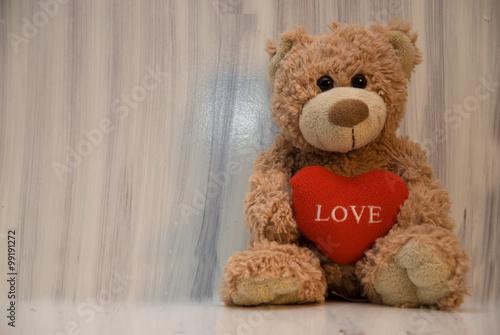 Romantic teddy bear on white #99191272
