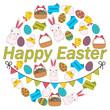 Poster Easter. Rabbit, chick and eggs. Flat line design. Vector illustration