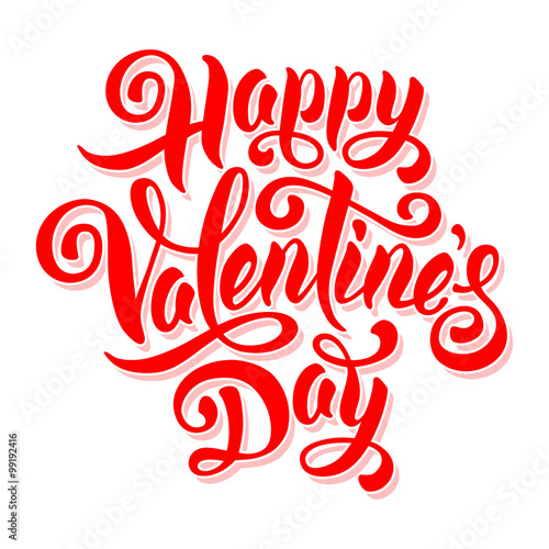 Fotografie, Obraz  Festive calligraphic hand drawn greeting inscription Happy Valentines Day isolated on white background