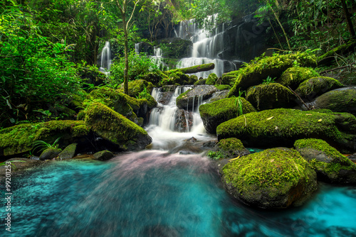 beautiful waterfall in green forest in jungle - 99201253