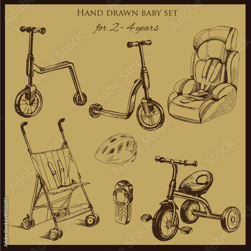 Poster Doodle retro hand drawn baby set for 2-4 years old