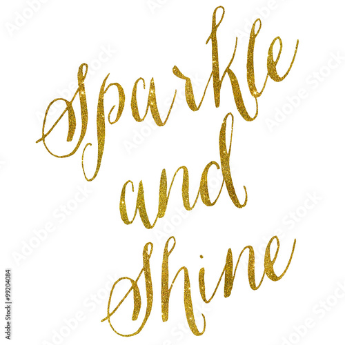 Sparkle and Shine Gold Faux Foil Metallic Glitter Quote on White Canvas Print