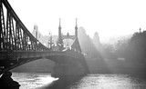 Bridge in the fog. Budapest, Hungary. - 99209829