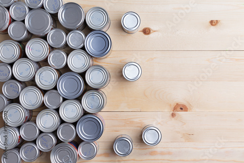 Fototapeta Conceptual background of multiple canned foods for food drive donations obraz
