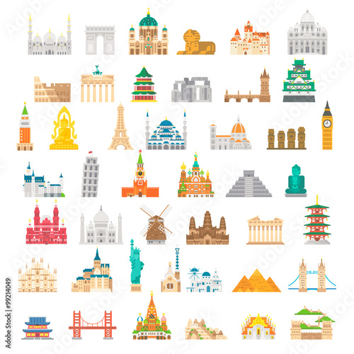 Photo  Flat design famous landmark set