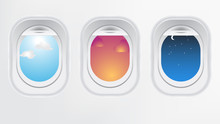 Window Of Airplane Aircraft. Creative Design Of Travel By Plane.