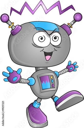 Garden Poster Cartoon draw Insane Robot Vector