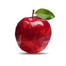 Apple Polygon On White Background Isolate Vector Illustration Eps 10