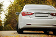 White car and autumn - Белая машина на осеннем фоне