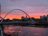 Newcastle upon Tyne- Sunset at Gateshead Millennium Bridge
