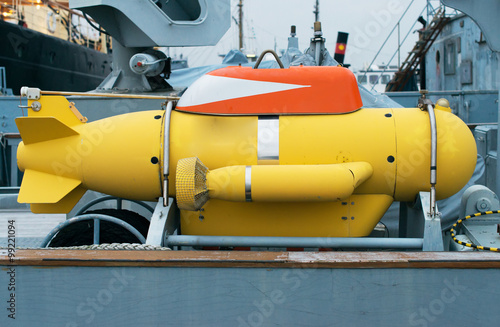 Unmanned underwater vehicle on the ship. Canvas Print