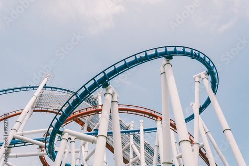 Photo  SINGAPORE - JULY 20 2015: Roller coaster in Universal Studios Si