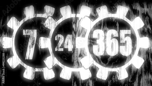 Fényképezés  timing badge symbol 7, 24, 365 on wood texture
