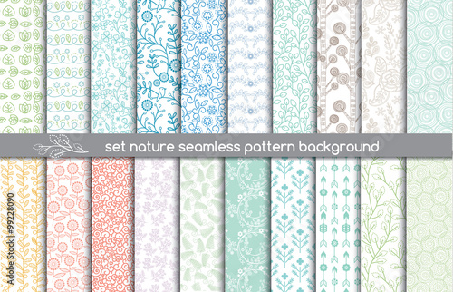 Tuinposter Kunstmatig set nature seamless patterns.pattern swatches included for illustrator user, pattern swatches included in file, for your convenient use.