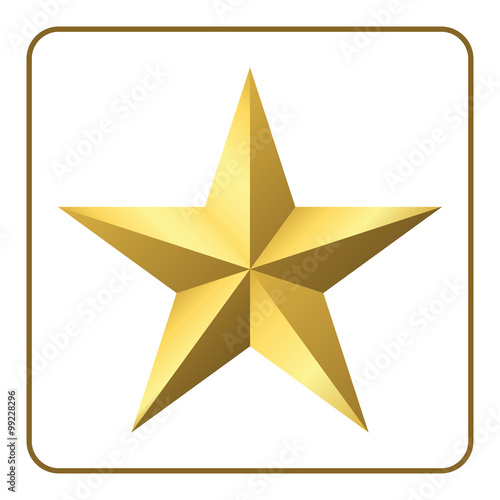 Gold Star Icon Pentagonal Sign With Gradient Elegant Symbol Of