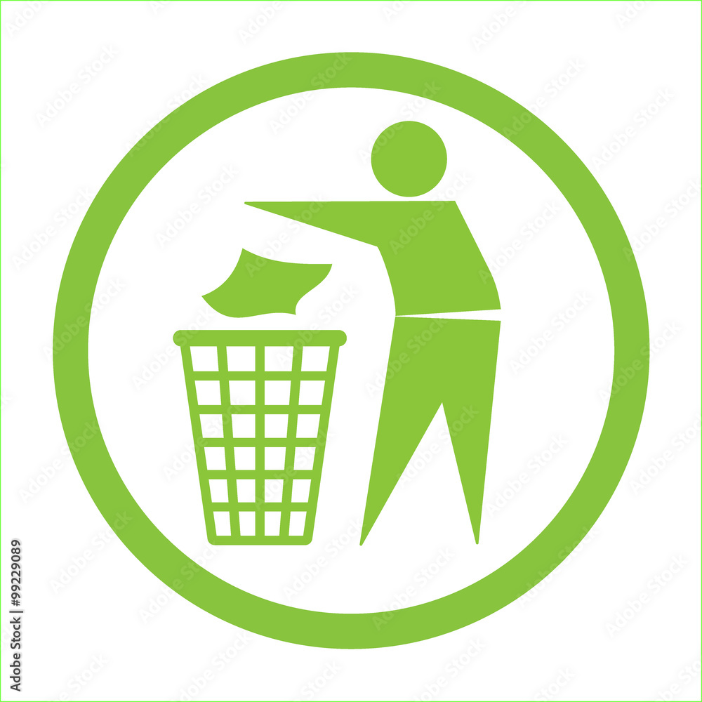 Fototapeta Keep clean icon. Do not litter sign. Silhouette of a man in the green circle, throwing garbage in a bin, isolated on white background. No littering symbol. Public Information Icon. Vector illustration
