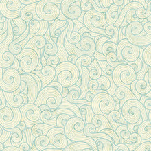 Seamless Pattern With Sea Green Spiral Waves