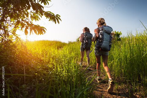 Fotografie, Obraz  Hikers with backpack
