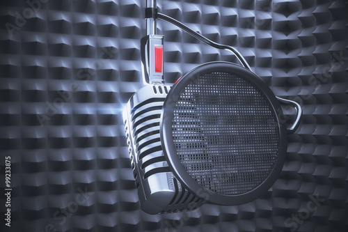 Fotografia, Obraz  Old style microphone at speakers background