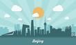 Beijing skyline - flat design