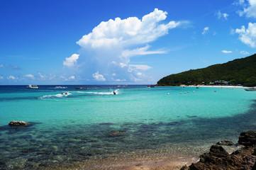 sea beach blue sky sand sun daylight relaxation landscape in thailand