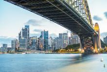 Sydney Harbour Bridge And City Night Skyline, Australia