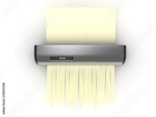 Shredder with yellow sheet . 3D Tablou Canvas