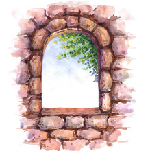 Old Stone Wall  With Window.