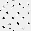 Geometric simple monochrome minimalistic vector holiday pattern planes