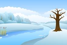 River Winter Landscape Day Illustration Vector