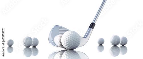 Cuadros en Lienzo Golfbälle mit Schläger vor Weiß