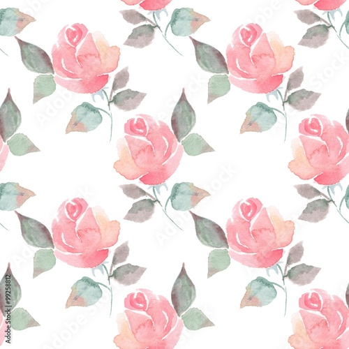Foto-Tapete - Background with beautiful roses. Seamless pattern with hand-drawn flowers 6 (von Gribanessa)